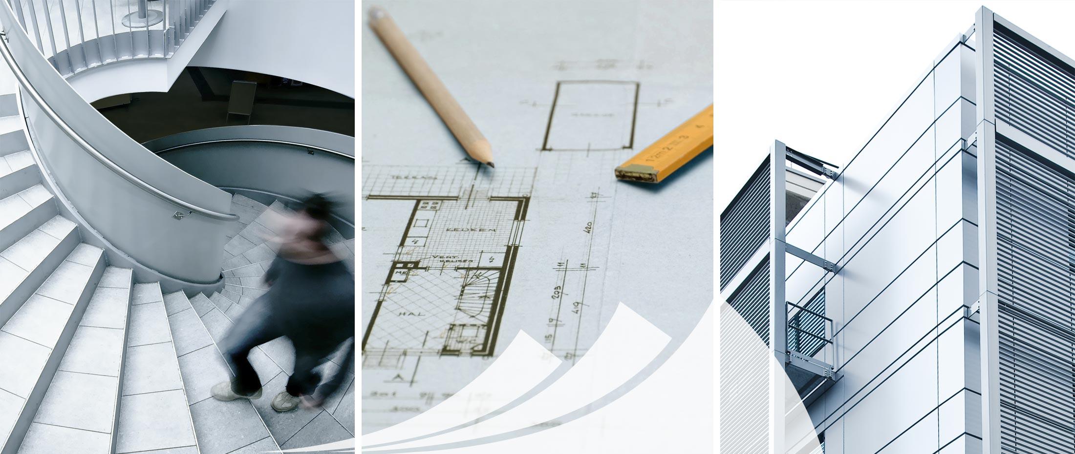 Bauzeichnung, Grundriss und Ingenieurbüro.