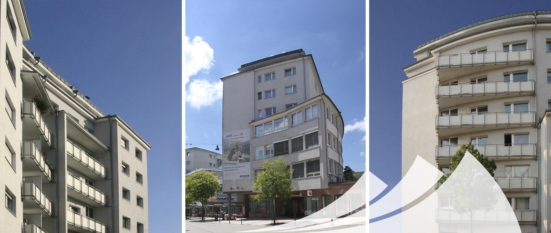 Hausverwaltung in Pforzheim: Saacke Carré. Gebäude in verschiedenen Perspektiven.